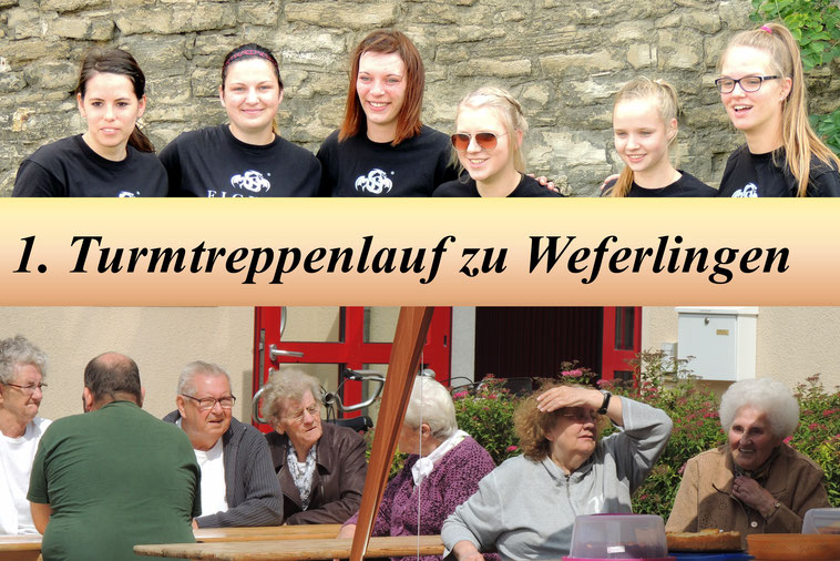 Oben die Laufmannschaft des MTV Weferlingen und unten ein Teil der staunende Menge  bei Kaffee und Kuchen....