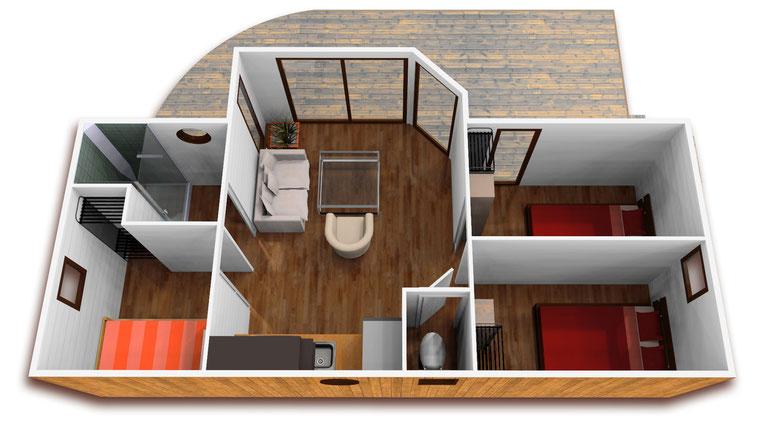 réhabilitation de mobile home, image 3D, intérieur 3D