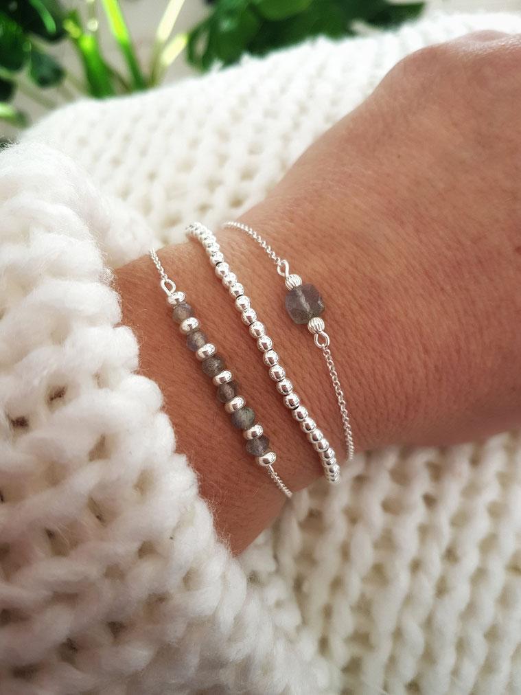 Trio de bracelets en argent et perles labradorite