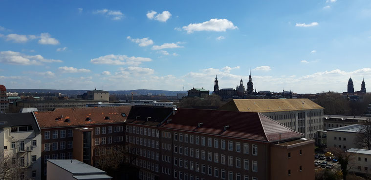View to the baroque City Center of Dresden