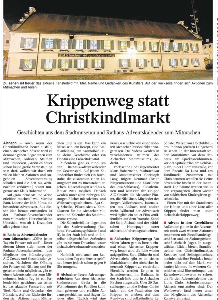 Bericht der Aichacher Zeitung v. 21.11.2020
