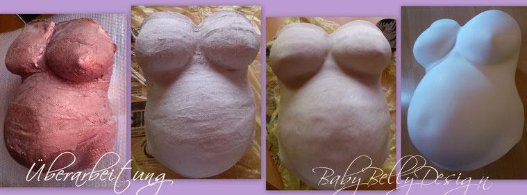 Schritte der Überarbeitung und Oberflächenglättung eines Gipsabdruckes vom Babybauch, Babybauchabdruck, Veredelung,