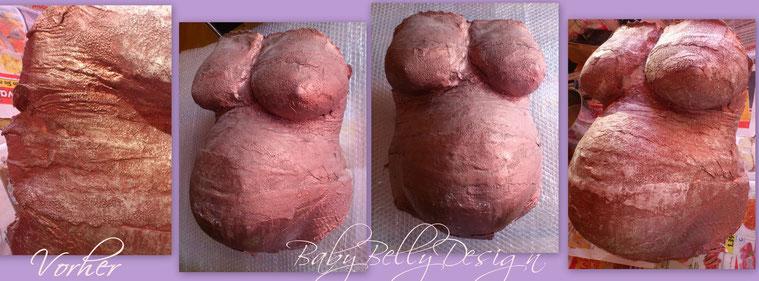 Gipsabdruck vom Babybauch VOR der Bearbeitung und Oberflächenglättung