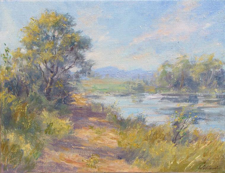 Tony Wahlander (Wåhlander) Paysages de Provence, tableau d'un fleuve au couché de soleil.