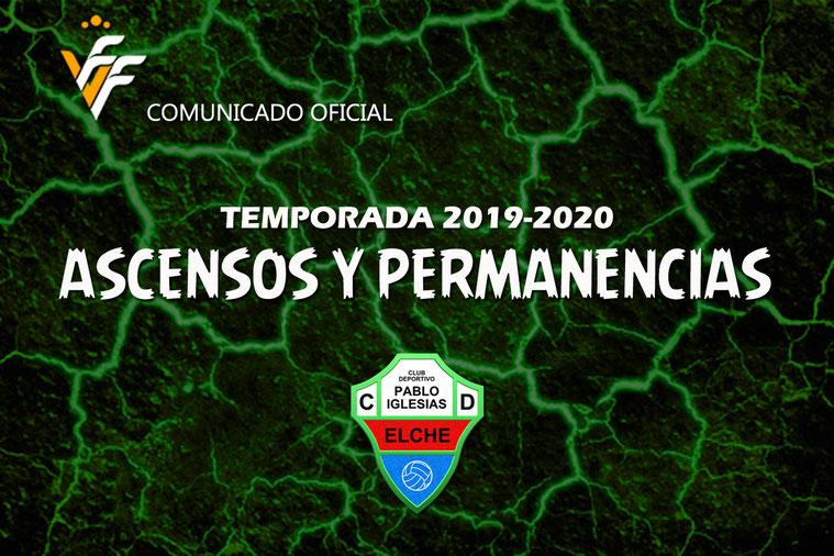 COMUNICADO OFICIAL DE LA FFCV | Final de la Temporada 2019-2020 | El C.D. Pablo Iglesias asciende a 2 equipos y mantiene a 5