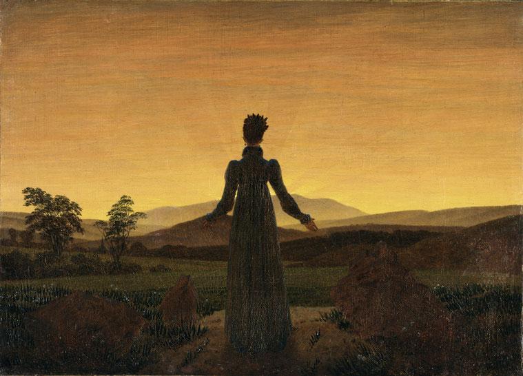"""C. D. Friedrich, """"La donna prima del sorgere del sole"""" (1818)"""