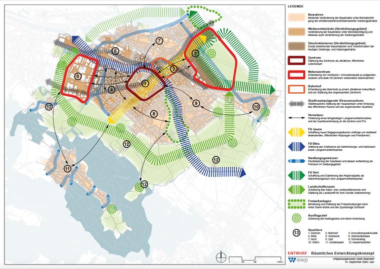 Karte räumliches Entwicklungskonzept der Stadt Dübendorf   Quelle: Stadtplanung Dübendorf