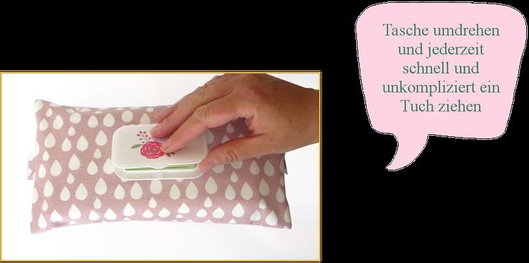 Einfach genial: Tasche umdrehen und jederzeit ein Tuch ziehen