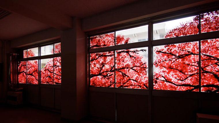 部屋の中から見たオクリエ。外から見るのとはまた違った美しさが感じられた。
