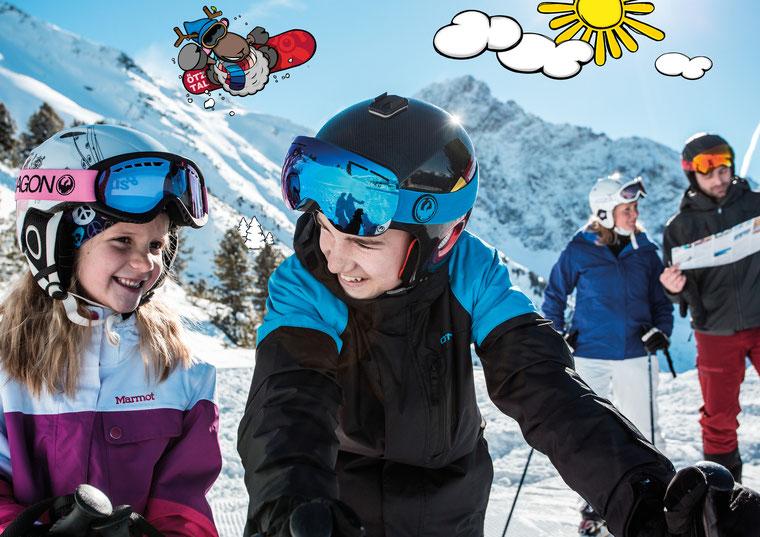© Ötztal Tourismus; Photograf eye5; Hochoetz, Familie, Region Oetz, Winter, Skifahren, WIDI, Berge, Skigebiet, Kinder, Karte, Sonne