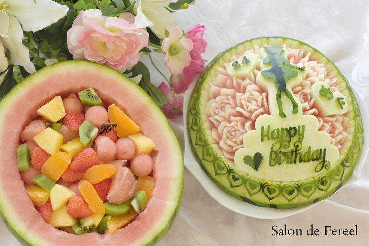 カービング スイカ 彫刻 誕生日 結婚式 メロン フルーツカービング 教室 大阪 薔薇 ソープカービング  プレゼント オーダー フラワーケーキ carving watermelon