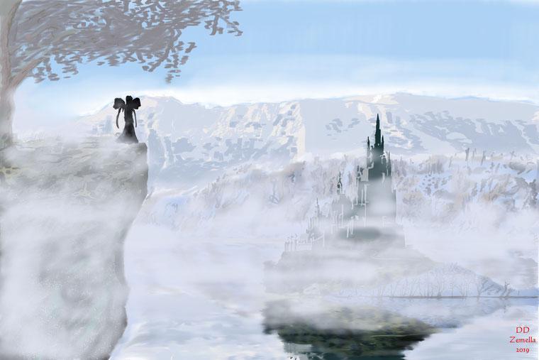 Najanafatu, die Nebelfee, blickt auf Ihr Schloss im vernebelten Moor hinab, das einst ein See war