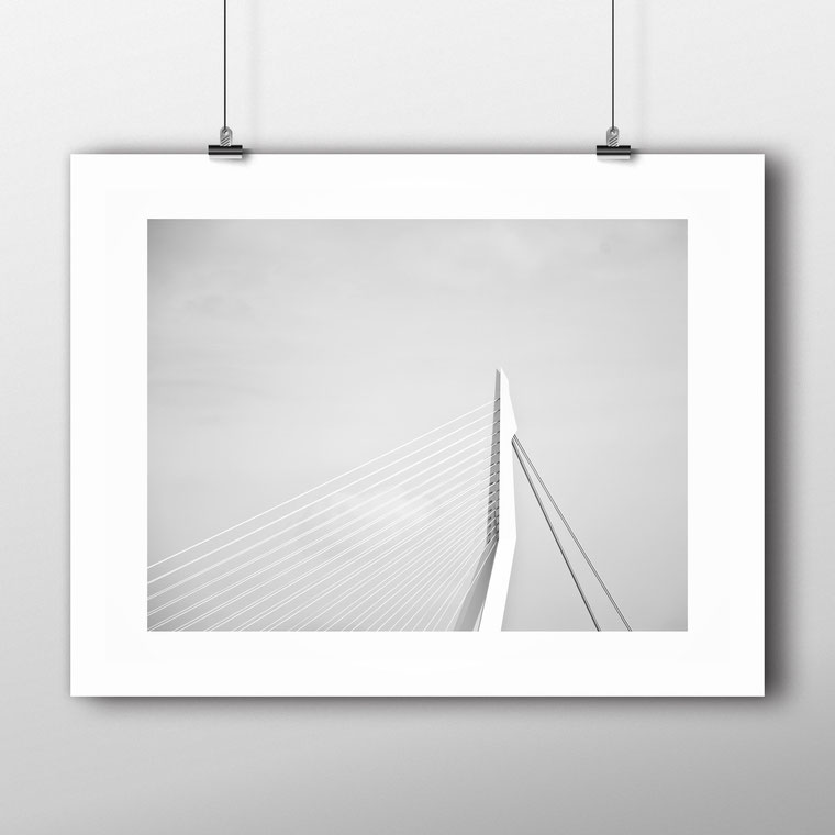 'Erasmus Bridge' Rotterdam - modern minimal architecture photography by PASiNGA