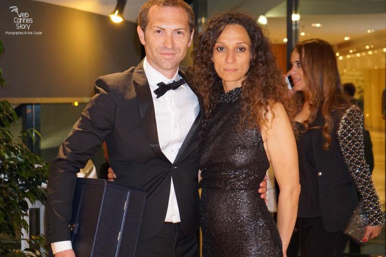 """Houda Benyamina, Caméra d'or pour  """"Divines"""" et  son producteur Marc Benoit Créancier - Festival de Cannes 2016 - Photo © Anik Couble"""