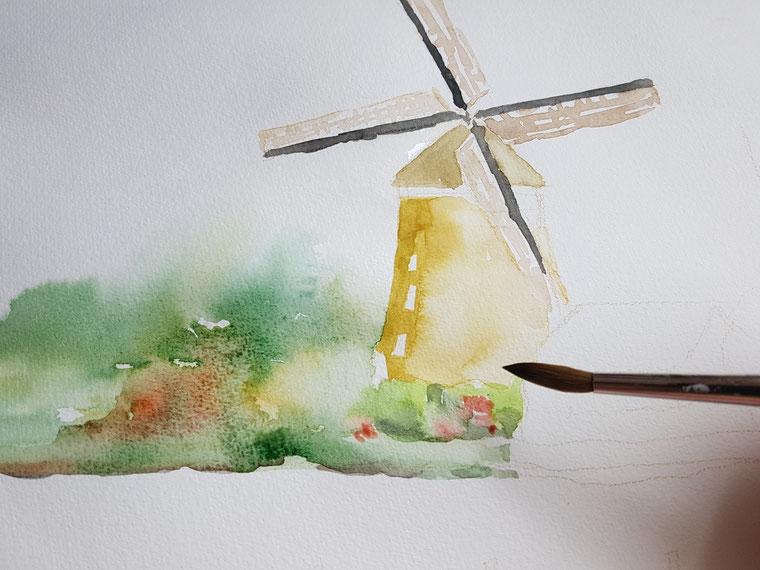 Aquarellkurs - Landschaft mit Windmühlen