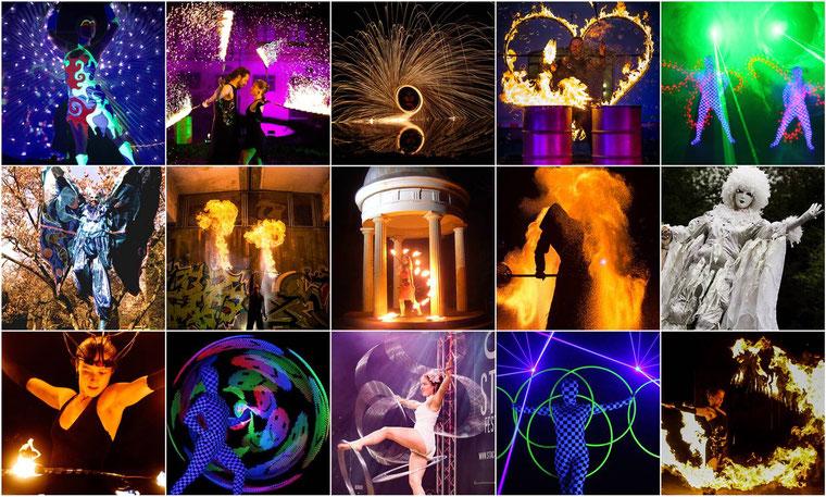 Feuershow Lasershow Stelzenlauf Augsburg