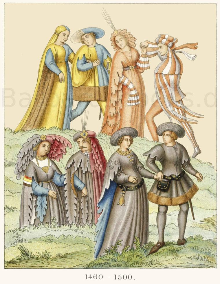 Männer- und Frauentrachten aus der zweiten Hälfte des 15. Jahrhunderts.