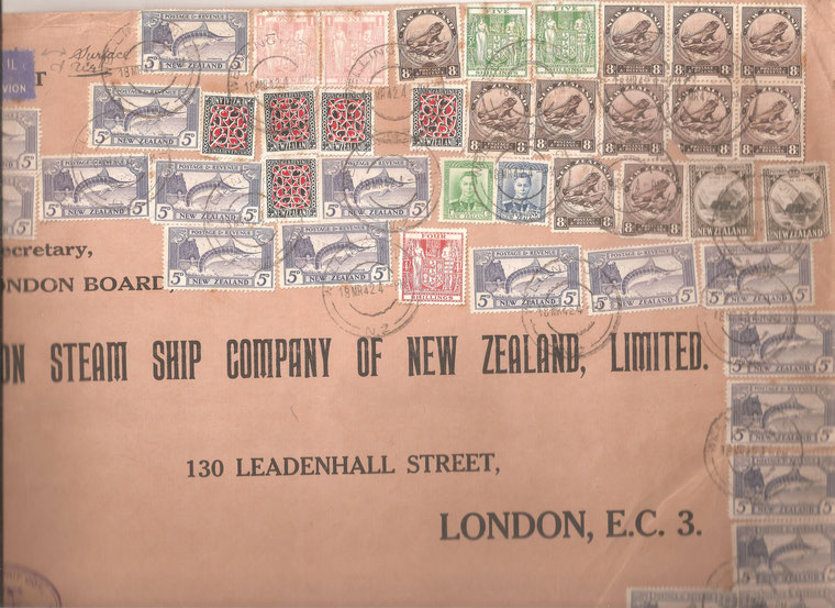 A 1942 Union steam ship cover to London, endorsed 'Surface +Air, franked with a range of pictorials !