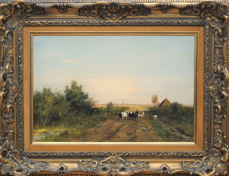 te_koop_aangeboden_een_landschaps_schilderij_met_koeien_van_de_nederlandse_kunstschilder_fred_frauenfelder_1945