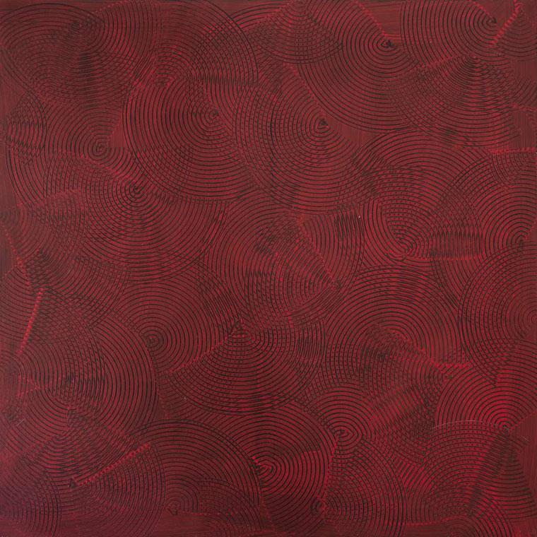 Girandole rosse/nere, 100x100, acrilico su tela,2014