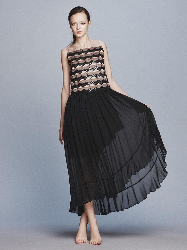 段々スパンコールリボン カラーロングドレス