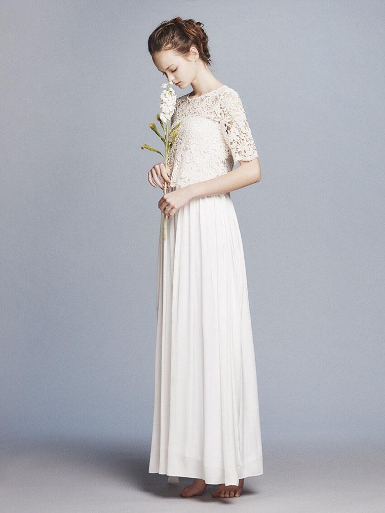 オシャレスリーブ付きドレス ウエディングドレス two-piece weddingdress