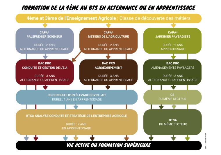 les formations en agriculture, paysage et cheval, en alternance scolaire ou en apprentissage, de la 4ème au BTS ou en CAP