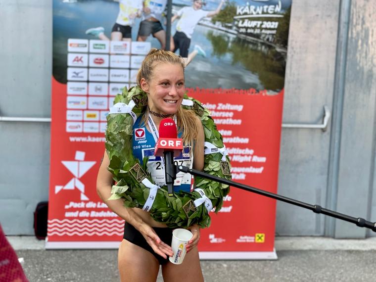 Julia Mayer Staatsmeisterin Michael Kummerer Kärnten läuft Velden Klagenfurt Stadion Wörthersee Orf Dsg wien hsz Bundesheer Halbmarathon