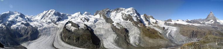 Panorama vom Gornergrat zu Breithorn und Matterhorn