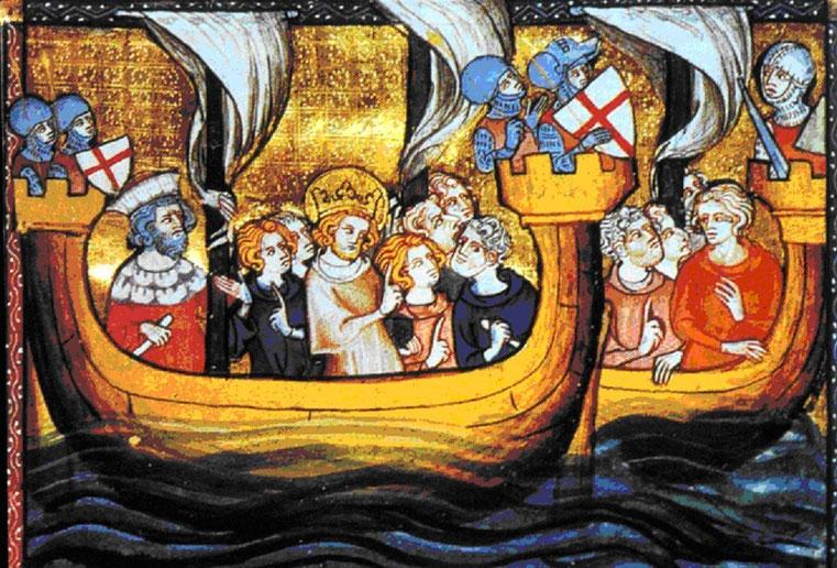 Mignature : Saint Louis vogue vers Damiette - le concenssus sur le cap à prendre est difficile 14 pour et 4 contre