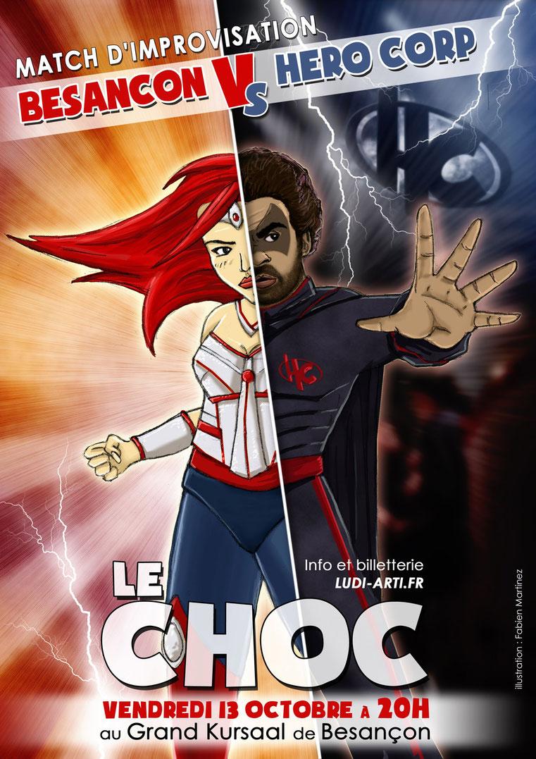 Le Choc, affiche du match d'improvisation Hero Corp Besançon