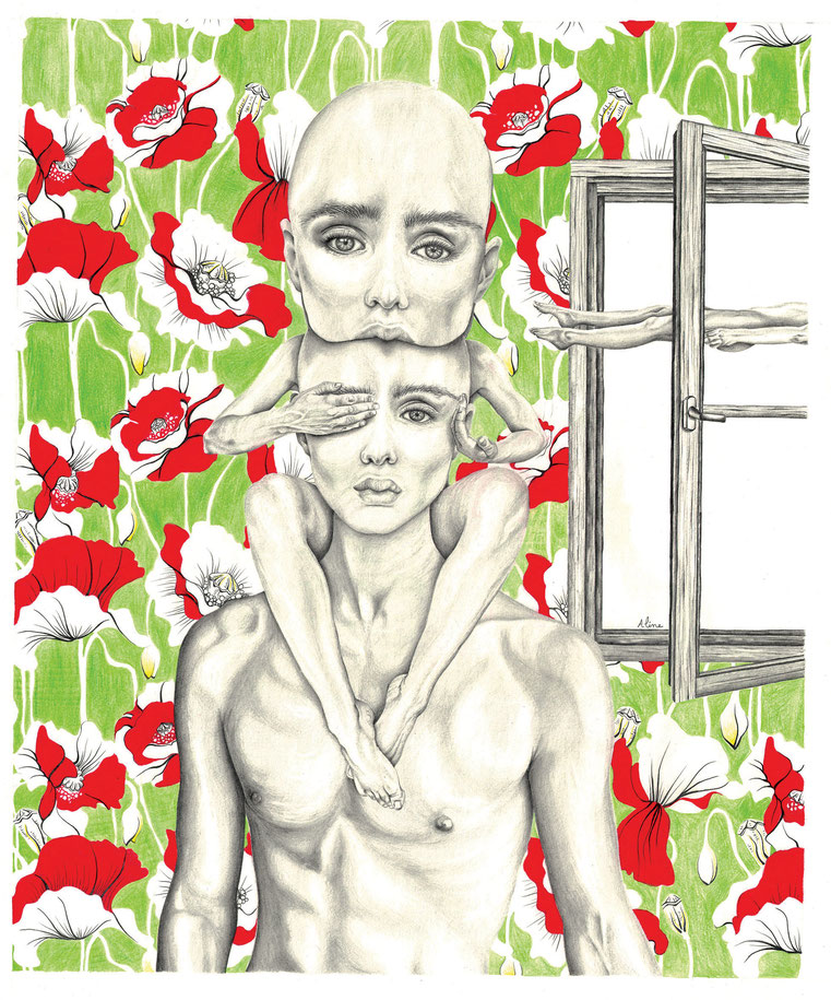 Le suicide de Morphée , crayons graphites et crayons de couleurs, 60 x 50 cm, 2017