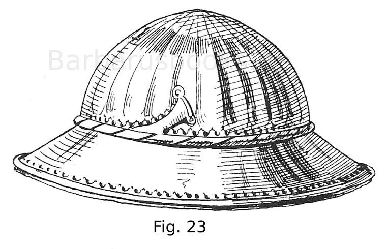 Fig. 23. Eisenkappe von einem Harnisch, in welchem gekleidet König Maximilian I. 1480 in Lützelburg eingeritten war. Deutsch.