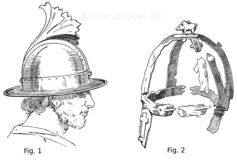 Fig. 1. Bronzehelm. Sesto-Calende. Jahrhundert. Museum der Akademie zu Mailand. Fig. 2. Germanischer Helm, sogenannter Eberhelm