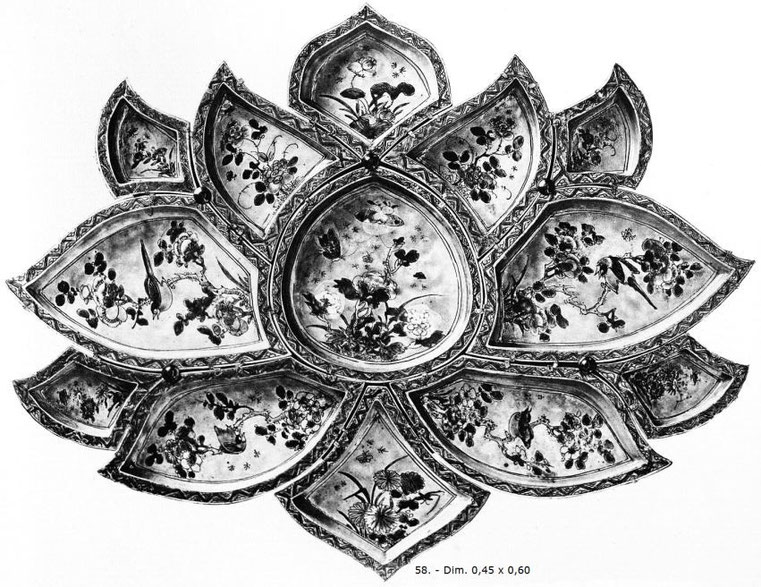 Pièce 58 de Ernest Grandidier (1833-1912) : La céramique chinoise. Firmin-Didot, Paris, 1894, in-4, II+232 pages+42 planches d'héliogravures par Dujardin, reproduisant 124 pièces de la collection de l'auteur.