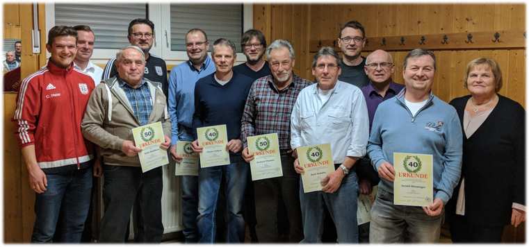 langjährige Mitglieder des SV Distelhausen Geehrt Generalversammlung 2018