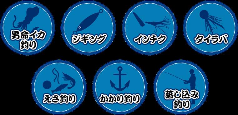 男命イカ釣り・ジギング・インチク・タイラバ・エサ釣り・かかり釣り・落し込み釣り