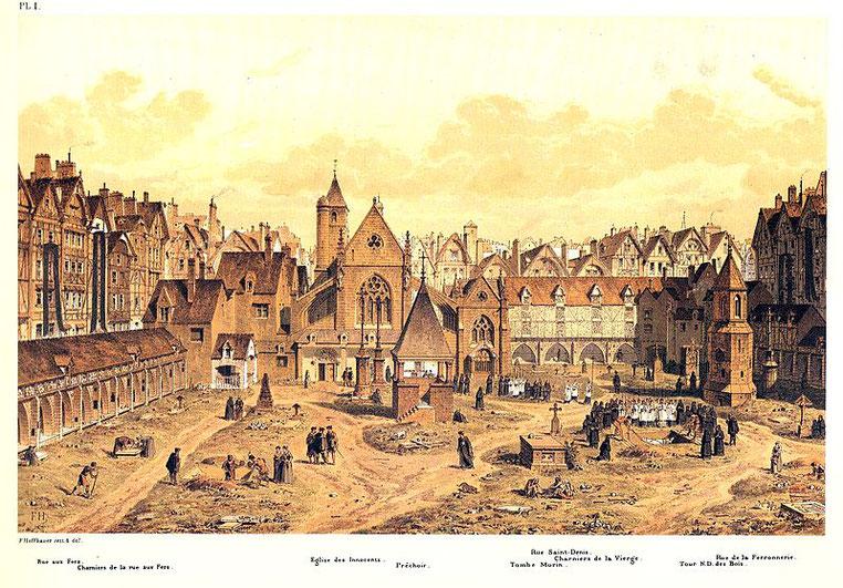 Cimetière des Saints Innocents à Paris, en 1550 par Hoffbauer