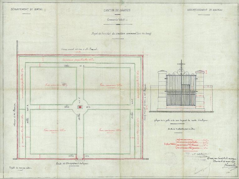 plan original du cimetière de 1897