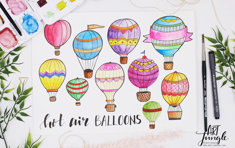 Anleitung How to draw - Hot air balloon Drawing Kids