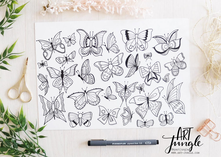 how to draw butterflies - schmetterling malen ideen - Doodles