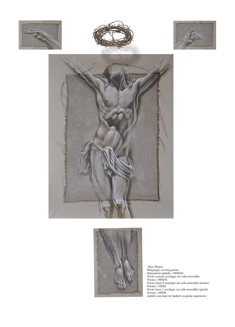 F. Martin©, étude Christique, Polyptyque en cinq parties, Peinture acrylique sur toile, peinture contemporaine