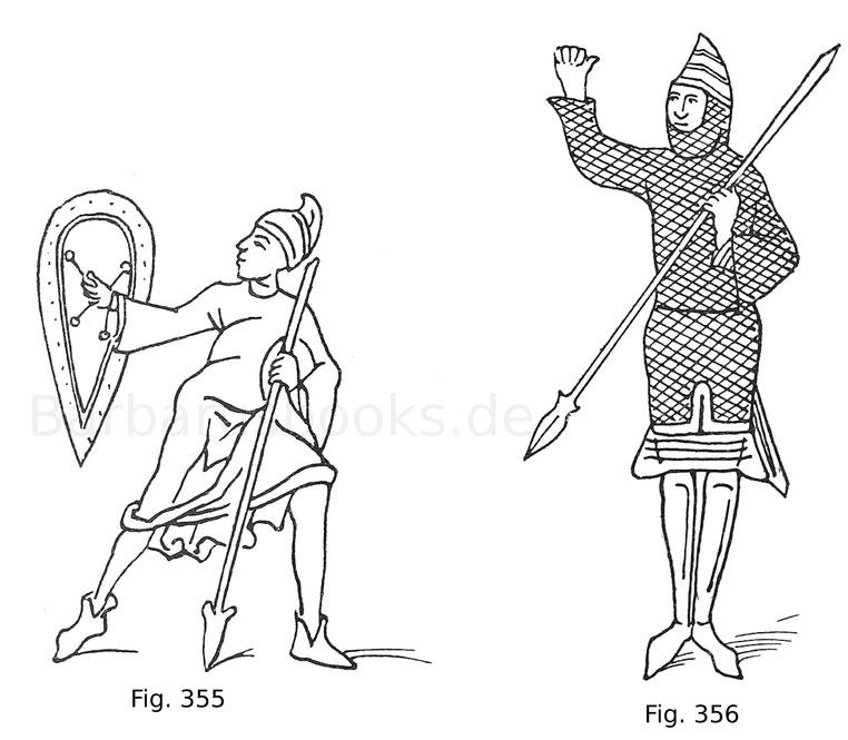 Fig. 355. Wurfspießträger mit Handschild. Miniatur aus einer Bibel aus der Wende des 9. und 10. Jahrhunderts in der Bibliothek Mazarin. Nach Jacquemin, Ikonographie.