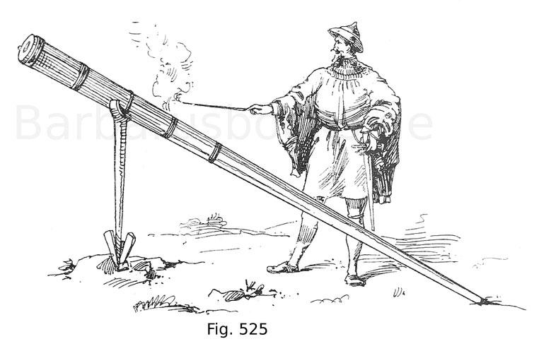 Fig. 525. Rohrschütze, sein Feuerrohr mit einer Lunte abschießend. Nach einer Handschrift der Universitäts-Bibliothek zu Göttingen von 1405.