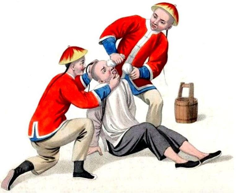 Les punitions des Chinois. Texte de George Henry Mason. Gravures de J. Dadley. G. Miller, Londres, 1801. 11. Manière de brûler les yeux avec la chaux.