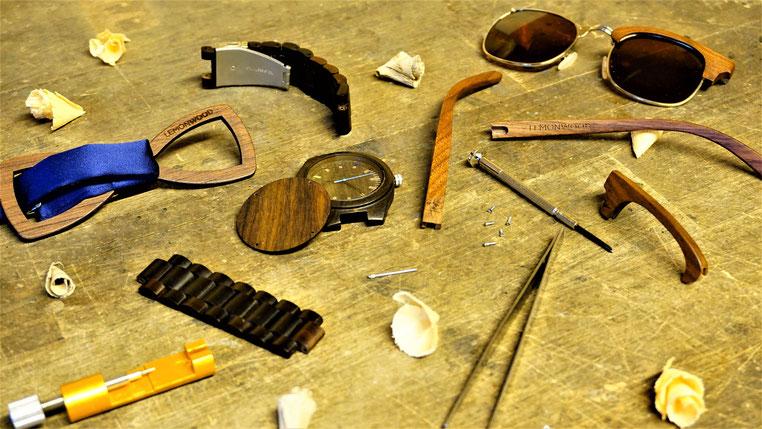 Lemonwood Nachhaltig Handmade Forstwirtschaft regional Holzuhr Holzbrille Sonnenbrille aus Holz Armbanduhr aus Holz Holzfliege