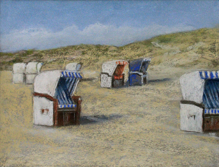 """Strandkörbe"" (Pastell), 50 cm x 40 cm"