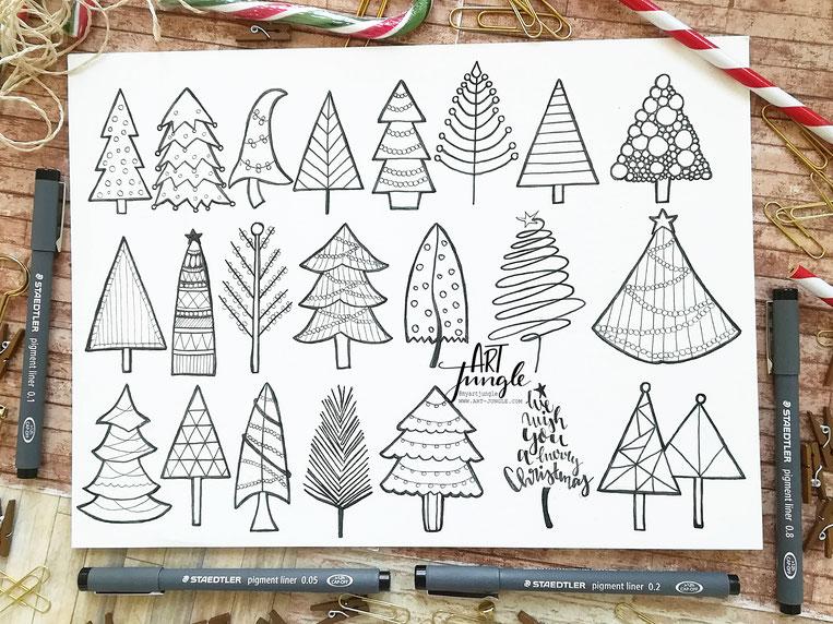 Christmstree - Doodles - Malen Weihnachtsbäume