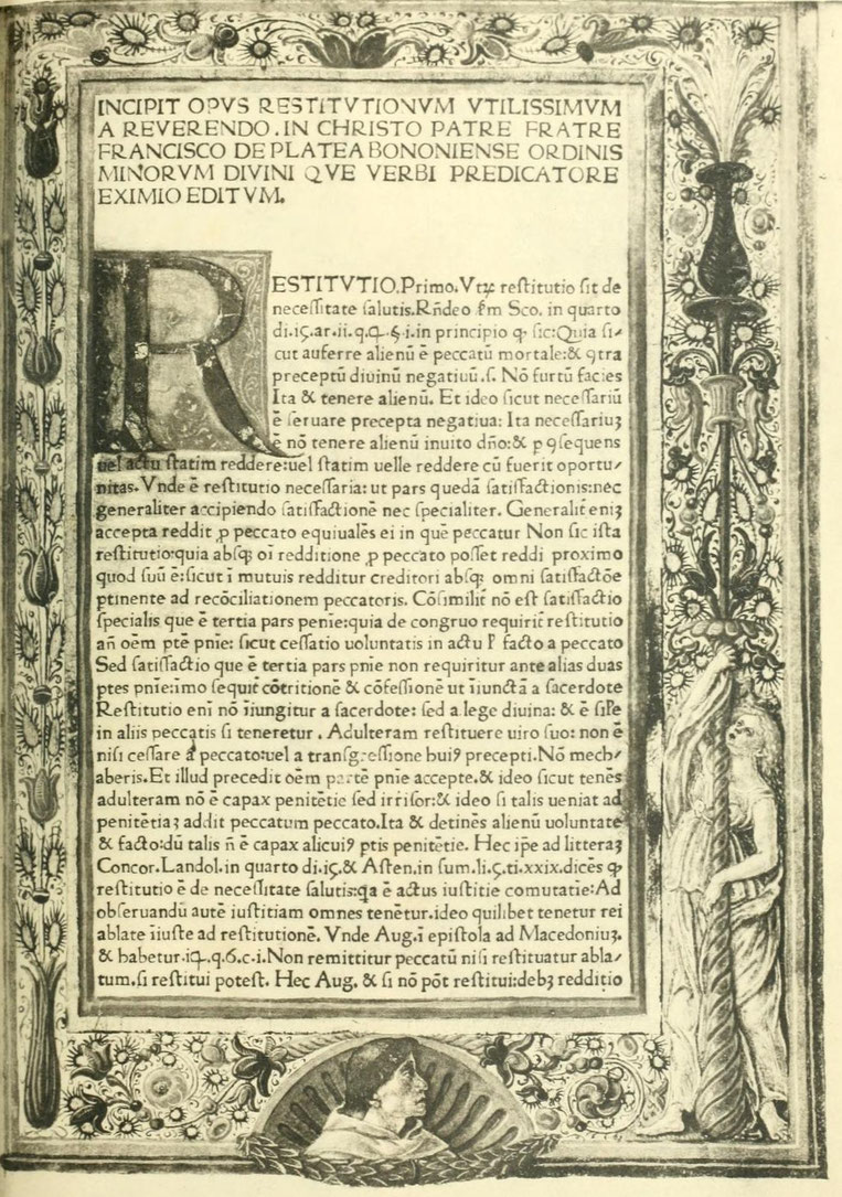 Franciscus de Platea. Opus restitutionum etc. Patavii 1473.