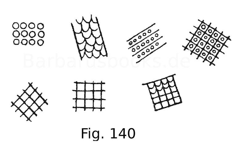 Fig. 140. Verschiedene Proben von Darstellungen des Panzerwerks an Hauberts aus der Tapete von Bayeux.